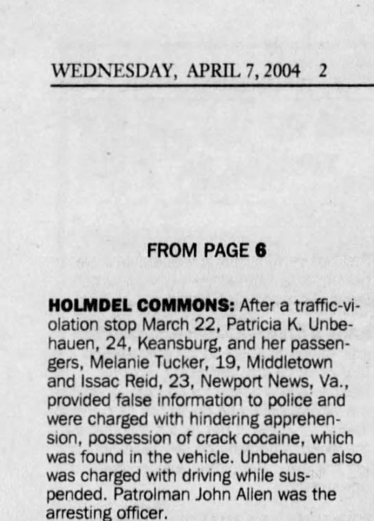kate using trish's first name - WEDNESDAY, APRIL 7, 2004 2 FROM PAGE 6 HOLMDEL...