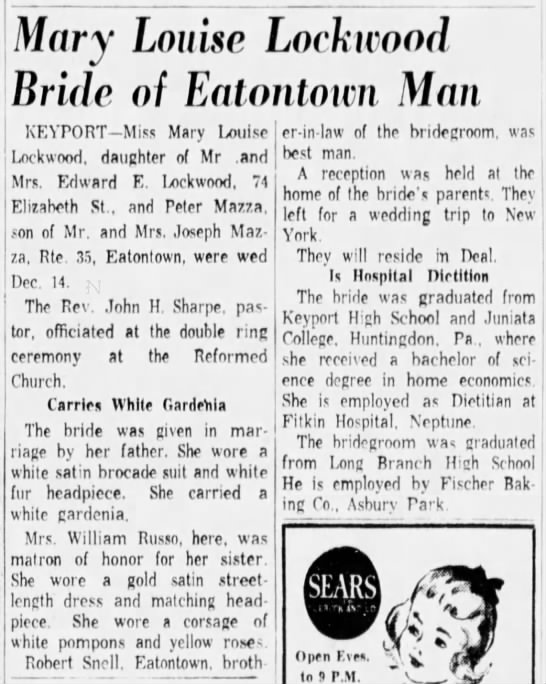 - Mary Louise Lochiood Bride of Eatontown Man...