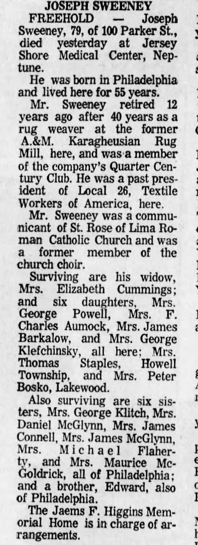 - JOSEPH SWEENEY FREEHOLD Joseph Sweeney, 79, of...