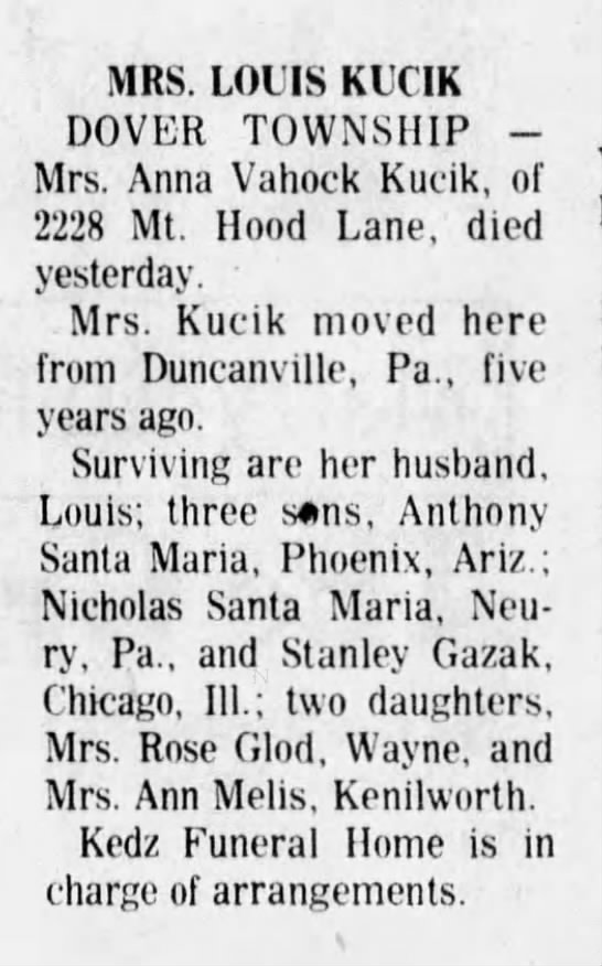 Louis Kucik's first wife. - MRS. LOUIS KUCIK DOVER TOWNSHIP -Mrs. -Mrs....