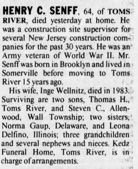 "Henry Senff - Obituary - HENRY C. SENFF. 64, ofroMs"" RIVER, died..."