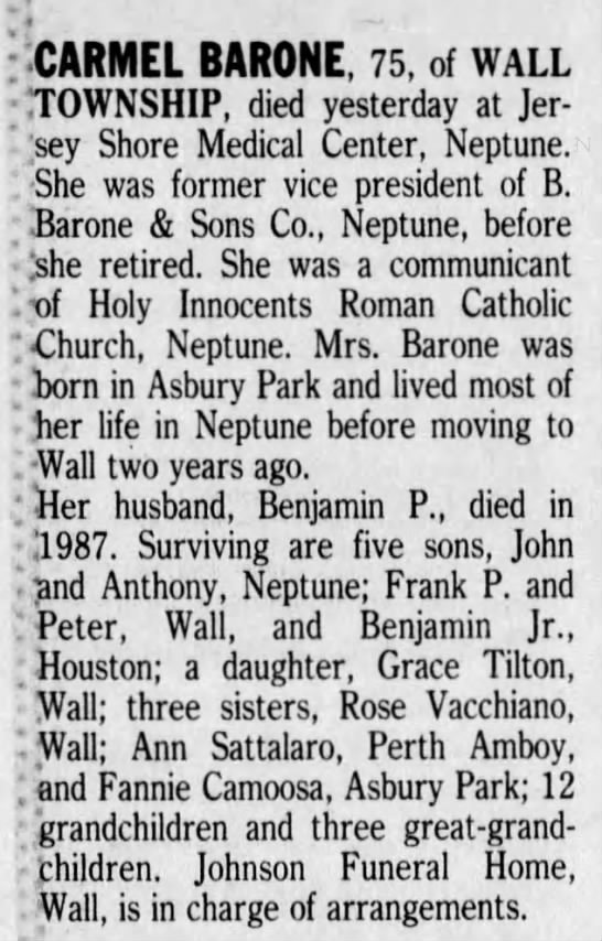 Carmel Barone  Obit died 26 Mar 1991 - I CARMEL BARONE, 75, of WALL rrOWNSHIP, died...