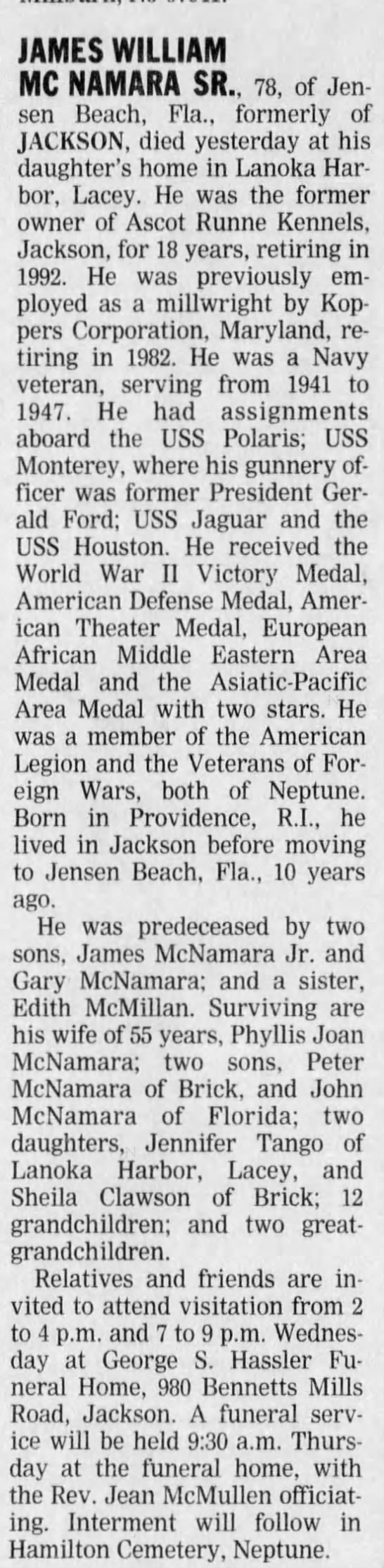 James W McNamara Sr Obit 30 Apr 2002