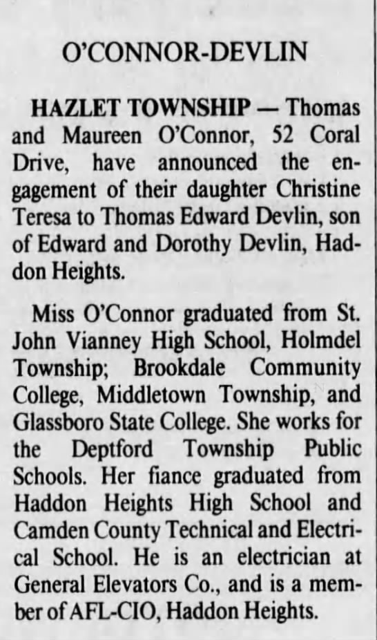 From Asbury Park Press 8/8/1990 - O'CONNOR-DEVLIN O'CONNOR-DEVLIN O'CONNOR-DEVLIN...