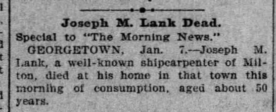 "Death of Joseph M Lank - Joseph M. Lank Dead. Special to ""The Morning..."