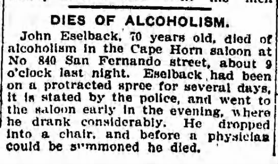 JACOB Esselbach's death - DIES OF ALCOHOLISM. John Eselback,' 70 years...