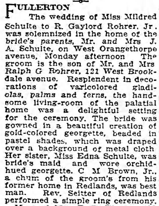 Wedding of Mildred and Gaylord - FUIiLERTOX The wedding of Miss Mildred Schulte...