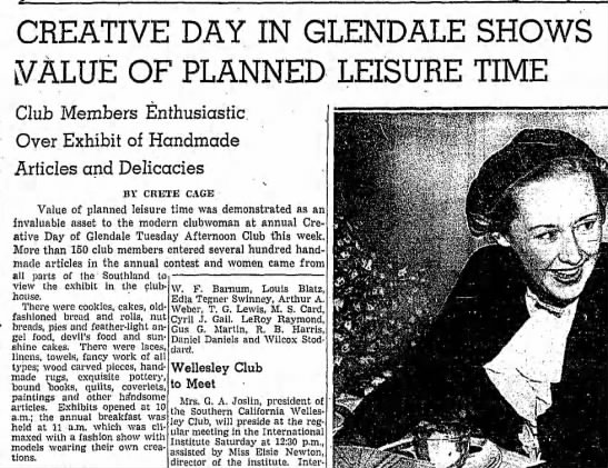 WILLISFORD Carrie Ashbaugh widow of  Edwin Hellaby Willisford clip 1 of 2 this page - CREATIVE DAY IN GLENDALE SHOWS LVALUE OF...