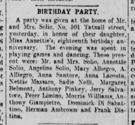 Nettie Solia 18th Birthday Party - BIRTHDAY PARTY. A party was given at the home...