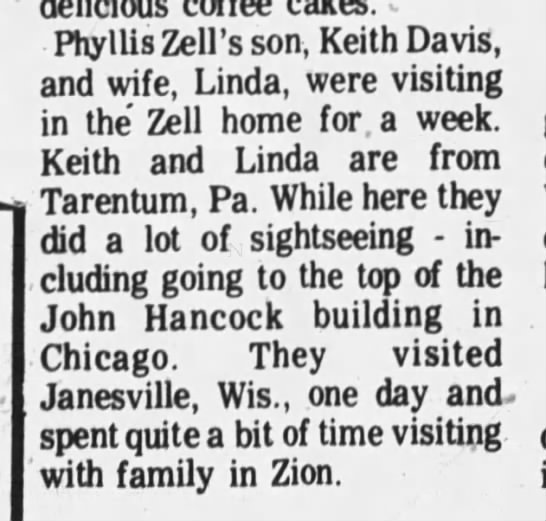 Son visits - Phyllis Zell's son, Keith Davis, and wife,...