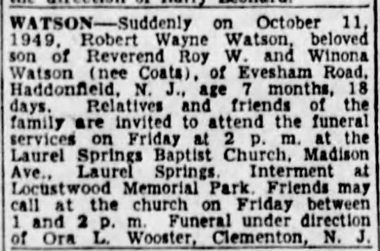 Robert Wayne Watson - WATSON Suddenly on October 11. 1949, Robert...