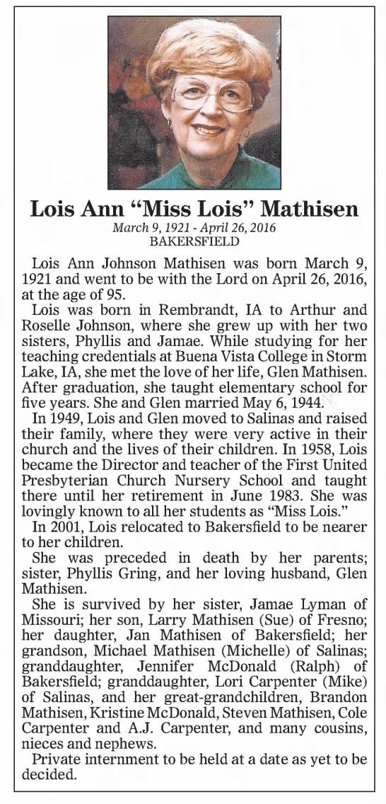 20160430 Lois Ann Mathisen Obituary - LoisAnnJohnsonMathisenwasbornMarch9,...