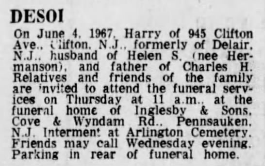Obituary - DESOI On June 4. 1987. Harry of 945 Clifton...