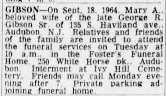 Mary Agnes Gibson - Obituary - GIBSON On Sept. 1. 1964. Mary A., beloved wife...