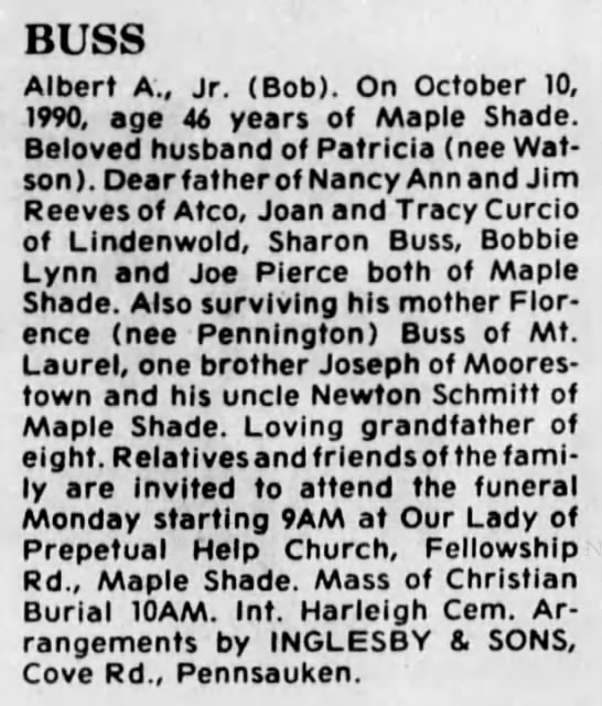Albert Buss Jr - obit - BUSS Albert A., Jr. (Bob). On October 10, 1990,...