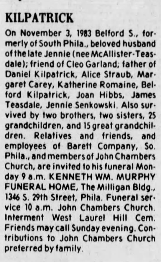 Belford Kilpatrick obituary 05 Nov 1983 Courier-Post (Camden, NJ)