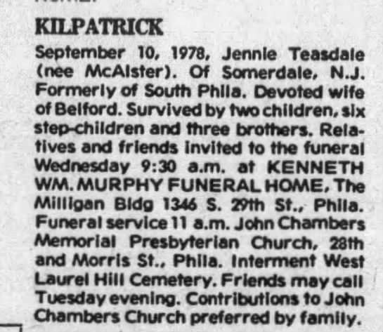 Jennie McAllister Teasdale Kilpatrick Obituary 11 Sep 1978 Courier Post (Camden, NJ)