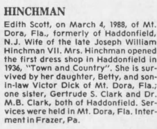 Edith Scott-Hinchman - HINCHMAN Edith Scott, on March 4, 1988, of Mt....
