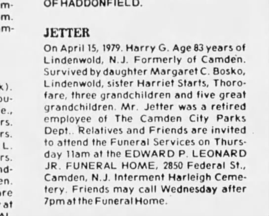 Harry Jetter - L. are at OF HADDONFIELD. JETTER On April 15,...