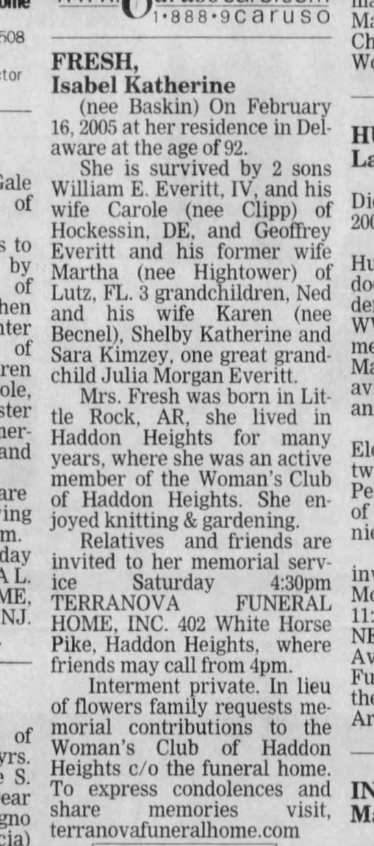 IsabelKatherineBaskinFresh-obit - 08030-1508 Gale of to by of of Somer-dale, and...