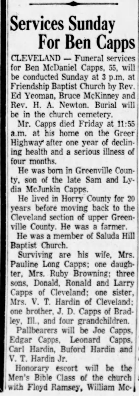 Obit Ben McDaniel Capps 14 Oct 1961 p1 of 2
