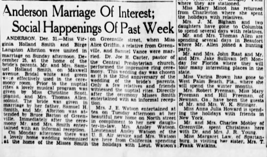 Greenville News 1 Jan 1939 - Anderson Marriage Of Interest; Social...