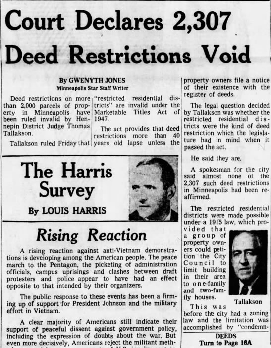 Deed restrictions were under a 1915 law limiting use to 1 and 2 family homes