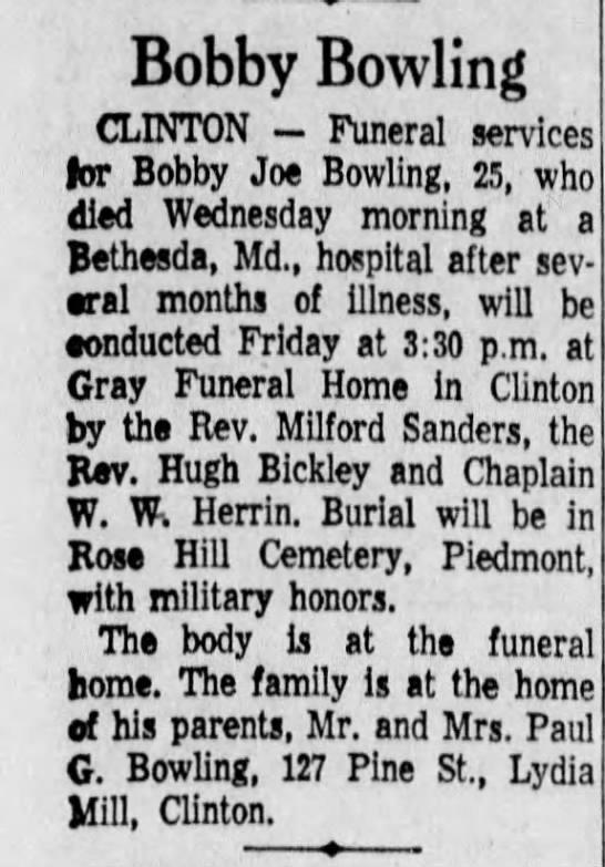 - Bobby Bowling CLINTON - Funeral services for...
