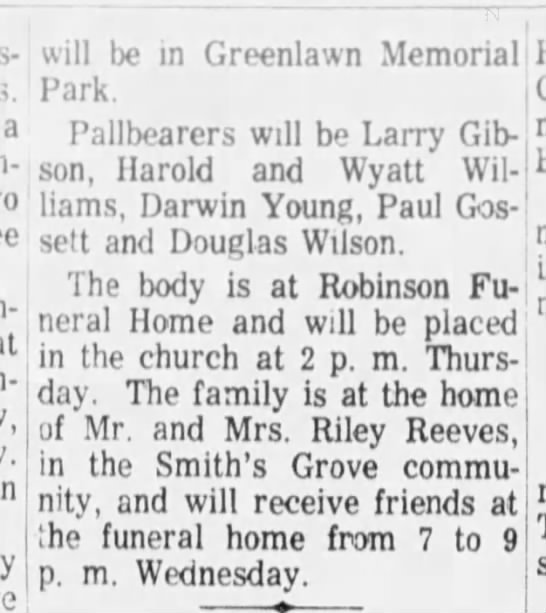 reeves, nellie durham gn 2-7-1968 p8 - 2 - a will be in Greenlawn Memorial Park....