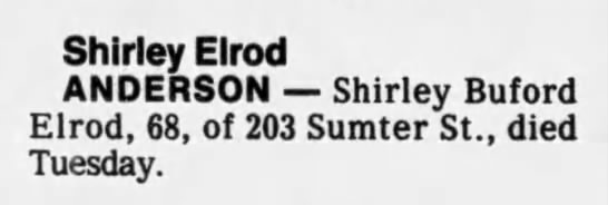 - Shirley Elrod ANDERSON Shirley Buford Elrod,...