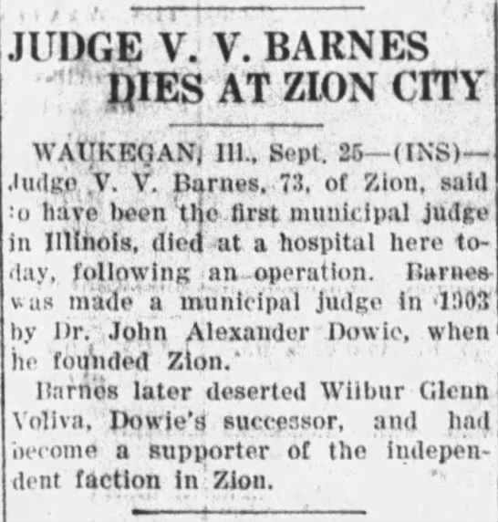 - JUDGE V. V. BARNES ; pIES AT ZION CITY...