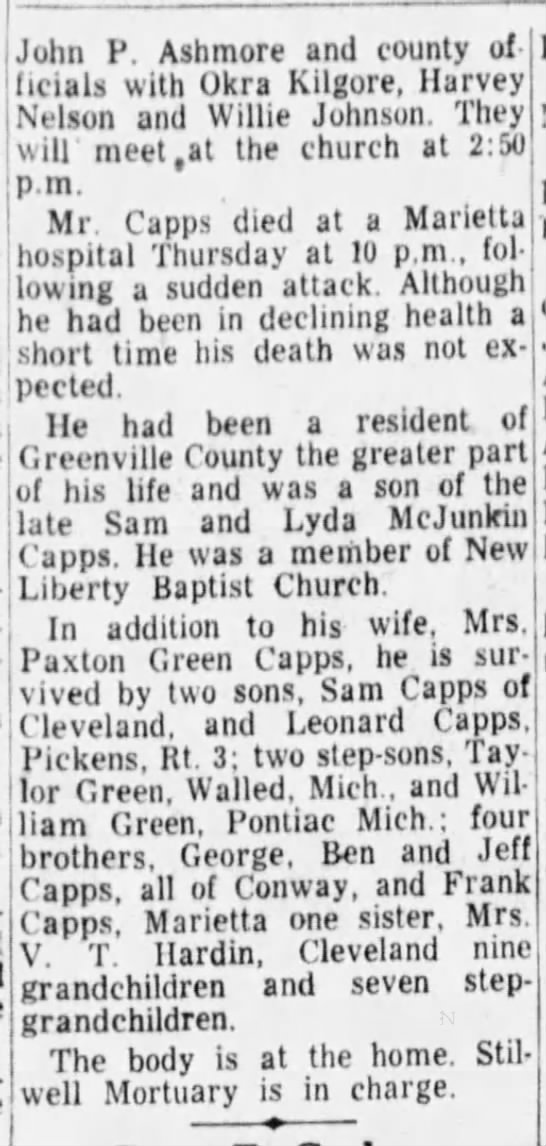 John R Capps so Sam and Lyda 30 Apr 1955 obit - John P. Ashmore and county of ncials witn UKra...