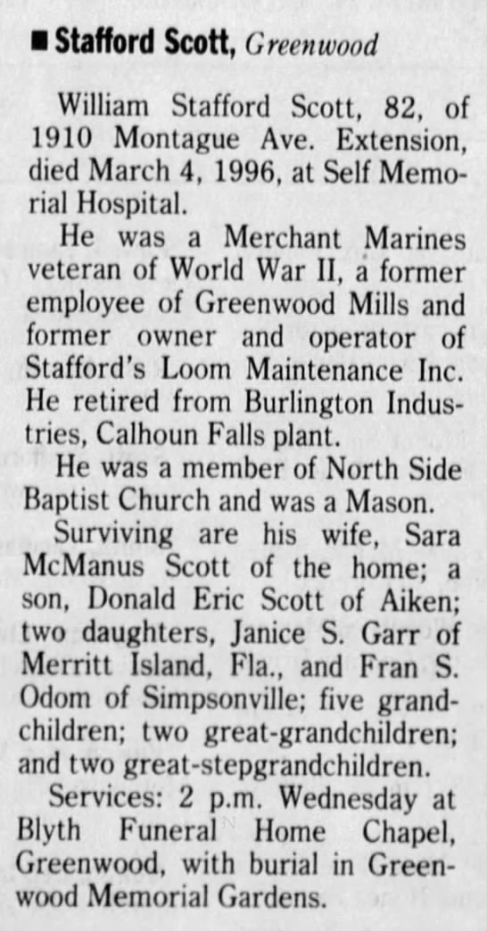 Scott, William Stafford_obit_The Greenville News_Greenvlle, SC_6Mar1996_Wed_pg28