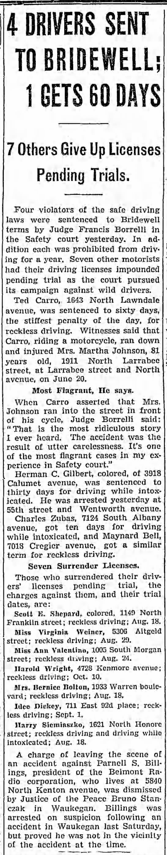 Ted Carro sent to Jail Chicago Tribune 12 Aug 1939 - 4 DRIVERS SENT TO BRIDEWELL; 1 GETS 60 DAYS 7...