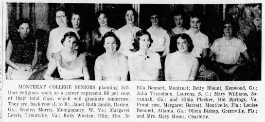 Graduation from Montreat 1955 Margaret Leech - Presby- an- lunch- A ill rt ifk:, MONTREAT...