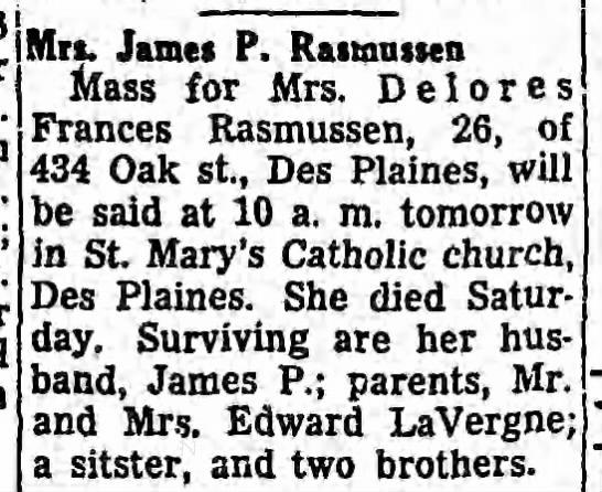 Delores Frances LaVergne - Rasmussen Obituary