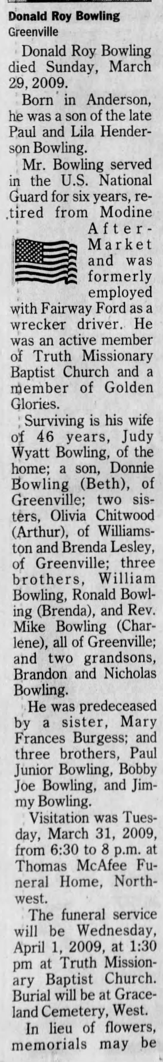 - Donald Roy Bowling Greenville ' Donald Roy...
