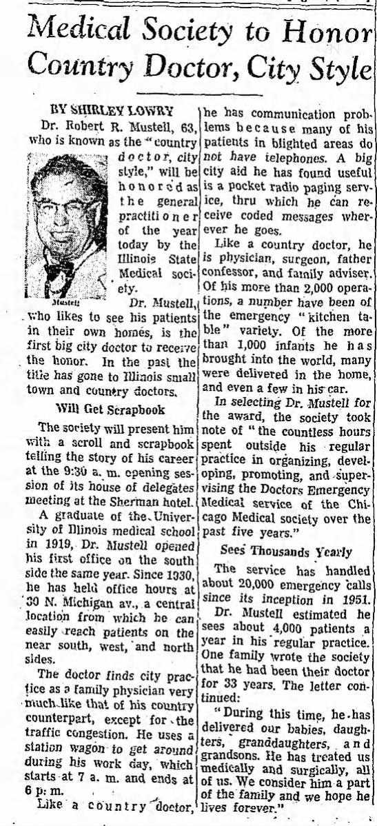 Robert Mustell - Medical Society to Honor Country Doctor, City...