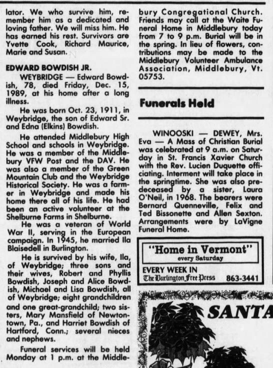 Edward Bowdish, Jr. Obituary - lator. We who survive him, remember remember...
