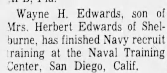 - Wayne H. Edwards, son of Mrs. Herbert Edwards...