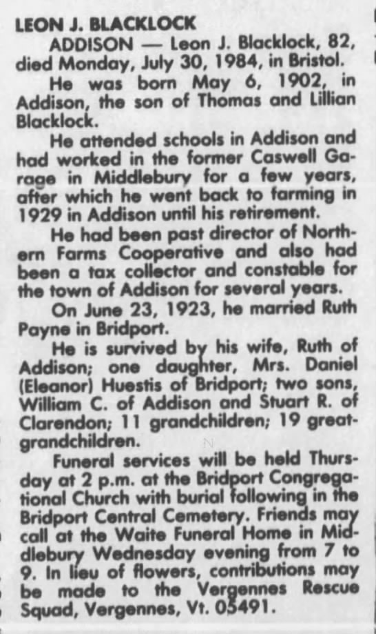 Leon John Blacklock Obituary - LEON J. BLACKLOCK ADDISON Leon J. Blocklock,...
