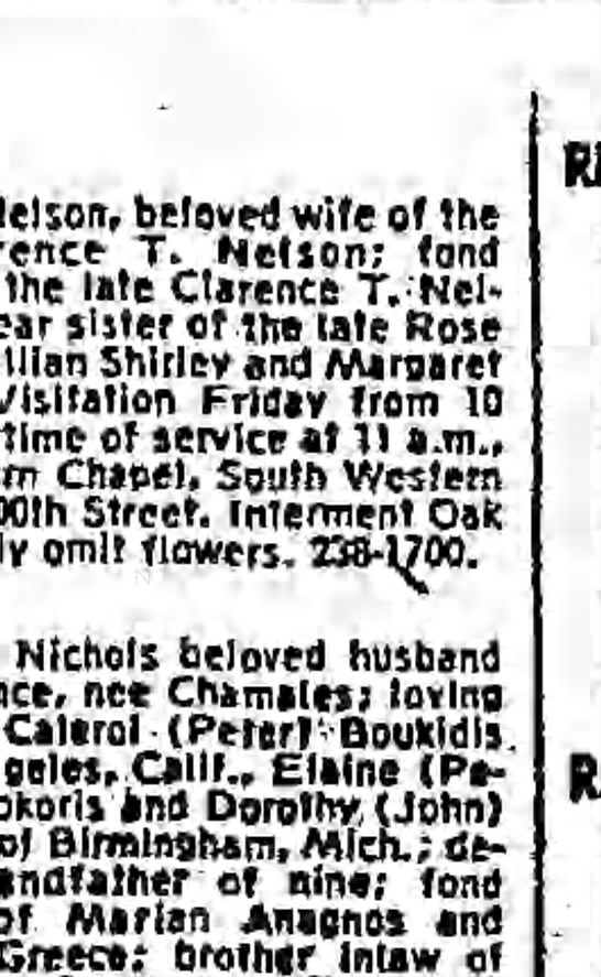 Harry Stepnick obituary - Nelson, beloved wife of the T. Nelson; fond the...
