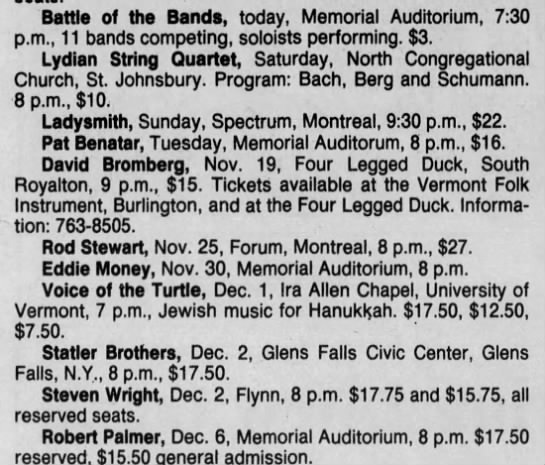 Nov 10 1988 - Concert List - Battle of the Bands, today, Memorial...