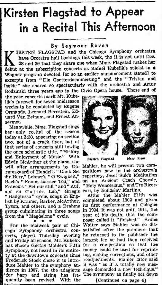 Kirsten Flagstad to Appear in a recital this  afternoon 03/12/1950 - Kirsten Flagstad to Appear in a Recital This...