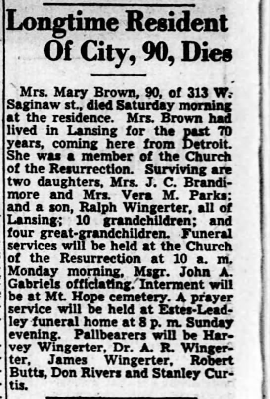 - Longtime Resident Of City, 90, Dies : Mrs. Mary...