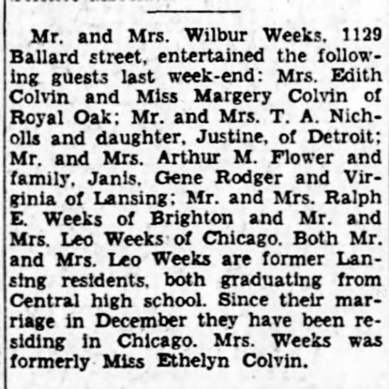 - Mr. and Mrs. Wilbur Weeks. 1129 Ballard street,...