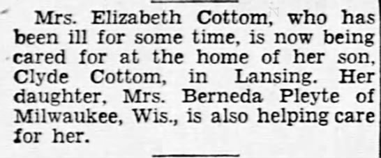 Cottom Mabel Elizabeth ill LSJ Wed Oct 9 1946 page 4 - ' Mrs. Elizabeth Cottom, who has been ill for...