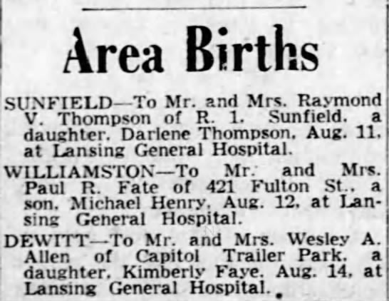 - Area Births SUN FIELD To Mr. and Mrs. Raymond...