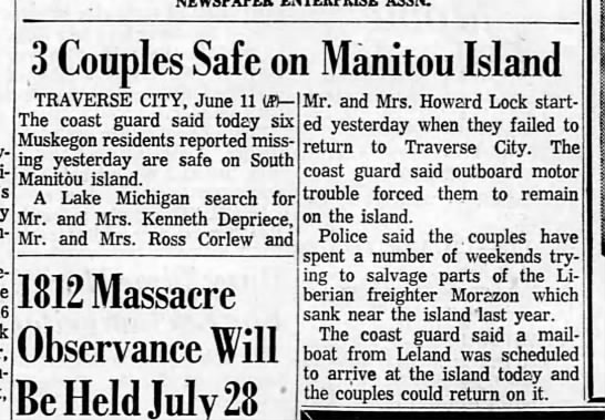 manitou thieves muskegon - Here- 3 Couples Safe on Manitou Island TRAVERSE...