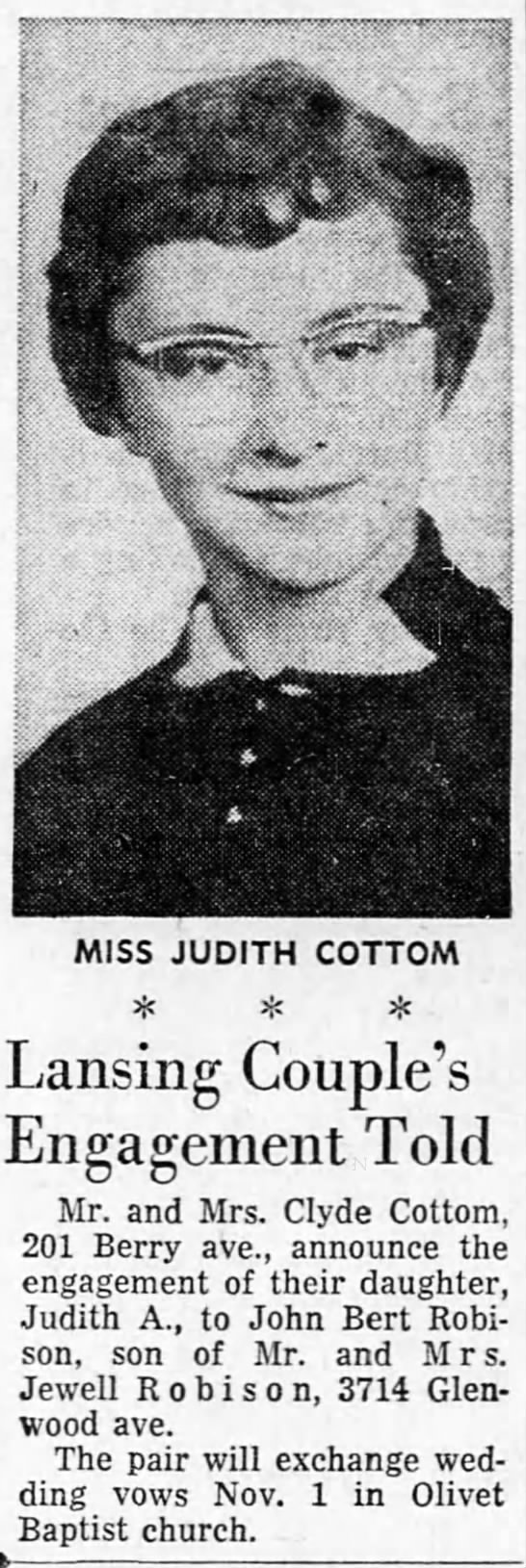 Cottom Judith Clydes daughter engagement Sun Sept 28 1958 page 58 - MISS JUDITH COTTOM 3C ifi Lansing Couple's...